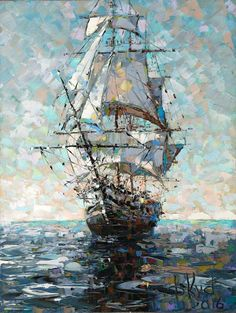 Ship Paintings, Seascape Paintings, Oil Painting Abstract, Watercolor Art, Landscape Art, Landscape Paintings, Sailboat Art, Boat Painting, Oeuvre D'art