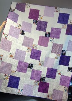 """Queen Size Disappearing 9-Patch - tutorial. Made with 1 Layer cake - a precut 10""""x10"""" square fabric bundle with at least 40 pieces - plus 2 1/3 yards white."""