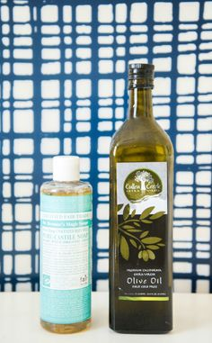 Make your own non toxic makeup brush cleaner with castile soap &olive oil. Cleans and moisturizes at the same time!