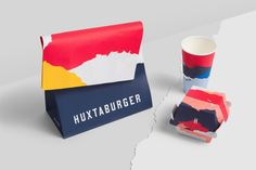 Brand Identity & Packaging for Huxtaburger by Pop & Pac Pop & Pac is a graphic design studio based in Melbourne, Australia. Their combined passion for all things design has seen them traverse the Australian and UK creative landscape for over Burger Packaging, Chip Packaging, Honey Packaging, Print Packaging, Food Packaging, Packaging Design, Burger Branding, Product Packaging, Blog Design Inspiration