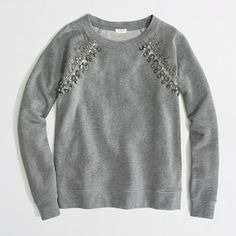 Looking for a jeweled sweatshirt like this, maybe more with jewels around the collar? Potential DYI project.  J.Crew Factory - Factory jeweled raglan sweatshirt