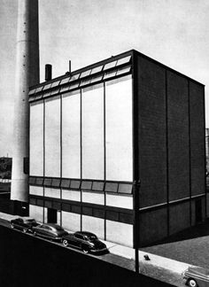 Boiler Plant, Illinois Institute of Technology, Chicago, Illinois, Mies van der Rohe Le Corbusier, Luigi Snozzi, International Style Architecture, Illinois Institute Of Technology, Ludwig Mies Van Der Rohe, Industrial Photography, Small Places, Boiler, Brutalist