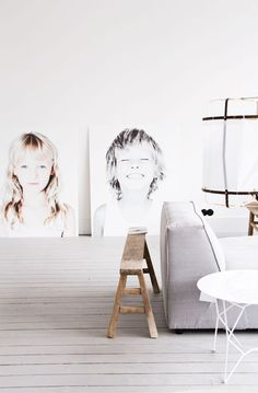 giant photo portraits of kids