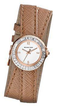 Michael kors Khaki Mini Madison Crystal Studded Rose-Golden & Leather Wrap Watch