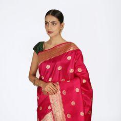 Indian Pink Kadhwa banarasi saree with konia pallu Katan Saree, Banaras Sarees, Hand Weaving, Sari, Women's Fashion, Indian, Luxury, Pink, Saree