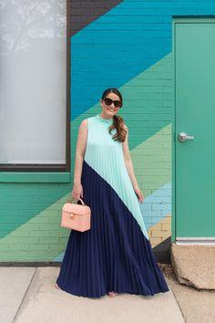 Jennifer Lake Emma Blue Maxi Pleated Dress