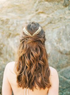 Half Up Bridal Hairstyle with a Gold Leaf Headpiece