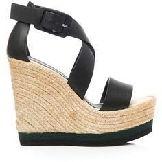 Palomitas Wesley Straw Wedges ($150) ❤ liked on Polyvore featuring shoes, sandals, black strap sandals, open toe wedge sandals, platform sandals, wedge shoes and black wedge sandals