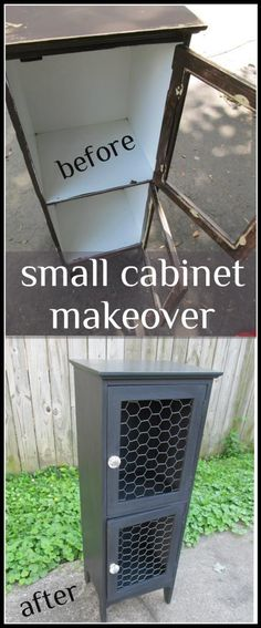 My Repurposed Life-small cabinet makeover-just add paint and chicken wire