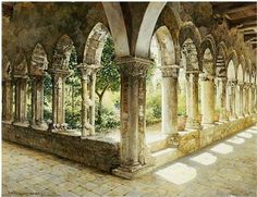 Originally painted in 1911 by Danish artist Josef Theodor Hansen, this 'Cefalu Cloisters, Sicily' print has been masterfully reproduced. Hansen's classic architectural painting style is stunning and d