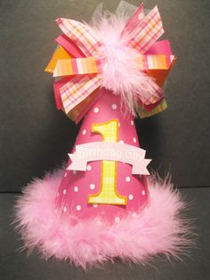 Personalized Hot Pink Yellow and Orange Birthday Party Hat  by DoodlesDotsnDimples, $13.49 https://www.etsy.com/shop/DoodlesDotsnDimples