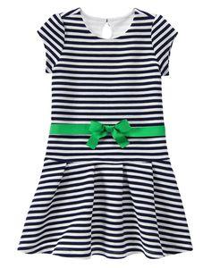 Gymboree SPRING PREP Girls Navy White Striped Ponte Skater Casual Dress Size 6 8 #Gymboree #PonteDress #CasualDressyEverydayPartySchoolChurch