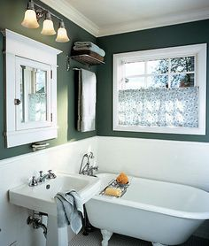 Craftsman Bathroom -- Hunter Green + White makes quite the impact...