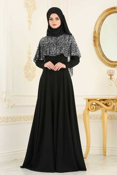 NEVA STYLE - BLACK HIJAB EVENING DRESS 36850S Hijab Gown, Hijab Evening Dress, Evening Dresses, Abaya Fashion, Muslim Fashion, Fashion Dresses, Beautiful Hijab, Beautiful Dresses, Black Hijab
