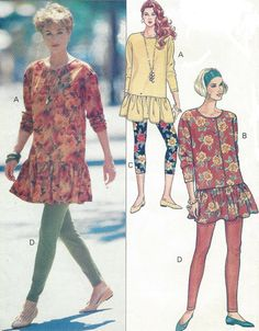 90s Butterick Sewing Pattern 5710 Womens Tunic Top by CloesCloset