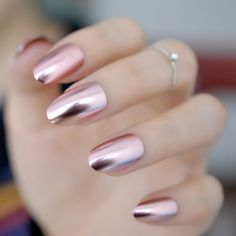$1.48 - Metal Plating Light Pink Mirror Fake Nails Metallic Reflective Round Nail N18 #ebay #Fashion