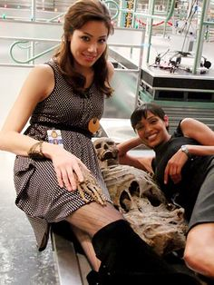 Knee high black boots, patterned tights, and polka dotted tunic dress -- seen here on Michaela Conlin...BONES!!