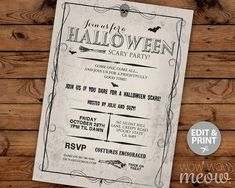 Halloween Party Invite Printable INSTANT DOWNLOAD by wowwowmeow