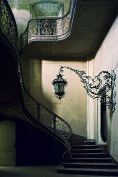 Stairway Lantern, France photo via besttravelphotos