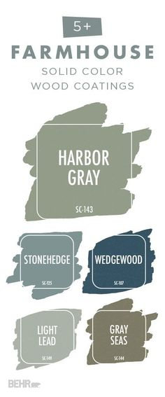 Give the exterior of your home a farmhouse chic makeover with this collection of Solid Color Wood Stains from BEHR. This premium stain and sealer helps to hide imperfection in your outdoor wooden surfaces while still letting that beautiful natural wood texture show through. Use shades like Harbor Gray, Stonehedge, Wedgewood, Light Lead, and Gray Seas on your decks, patios, porches, and fences.