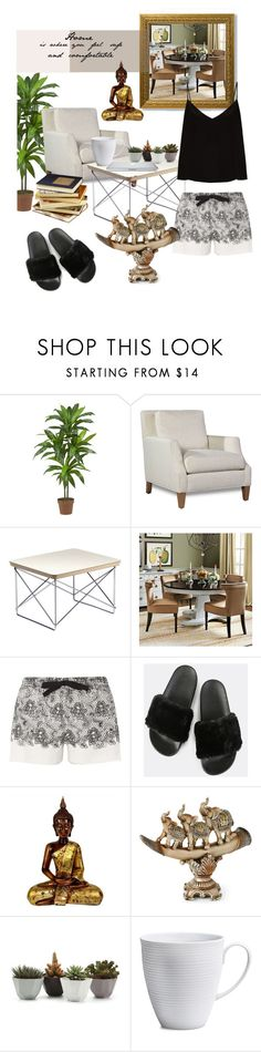 """""""Feng Shui Home"""" by maynardbae ❤ liked on Polyvore featuring Nearly Natural, Ballard Designs, Dorothy Perkins, Jay Import, Michael Aram, Raey, buddha and homedesign"""