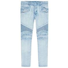 Balmain Ripped Slim Biker Jeans featuring polyvore men's fashion men's clothing men's jeans