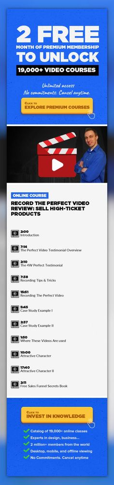 Record the Perfect Video Review: Sell High-Ticket Products Marketing, Business, Public Relations, Freelancing, Sales, Online Marketing, Life Coaching, Small Business Marketing #onlinecourses #onlinecollegecourses #onlineprogramswebsite   In this course I'm going to teach you how to record the perfect video reviews / case studies to improve the conversion rates for your sales pages. I will cover ev...