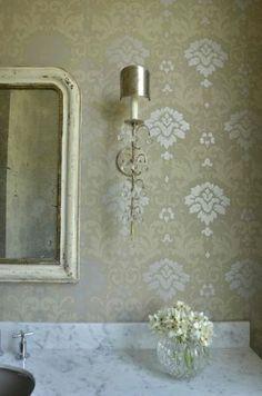 glenda sconce in powder room, silver leaf finish