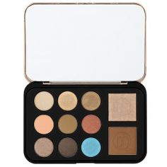 Become a bronze beauty with our glamorous Bronze Paradise eye and cheek palette, a highlighter, bronzer and nine brilliant, bright-to-deep shadows for dazzling matte and shimmer effects. The rich, lustrous shades glide on smoothly to produce a variety of radiant, everyday-to-exotic looks and create a subtle smokey eye. The collection comes in a sleek mirrored metallic case.