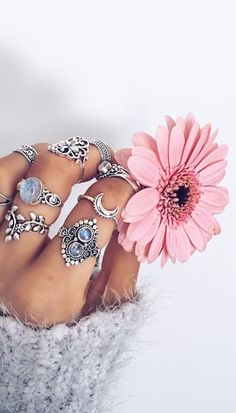 rings, flowers, and boho image