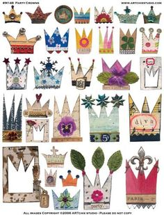 ARTchix Studio Collage Sheet, Party Crowns Image Sheet, 8 x sheet. These collage sheet images are vintage and fun. Available in many different styles, the collage sheets offer wonderfu Kunstjournal Inspiration, Art Journal Inspiration, Collage Sheet, Collage Art, Free Collage, Paper Dolls, Art Dolls, Paper Art, Paper Crafts