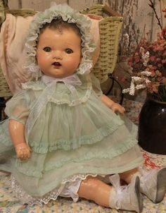 Vintage composition and cloth baby doll. Love dolls toooooooo much.