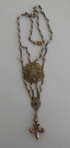 Antique Rosary Necklace Fleur De Lis Enamel Button by Vinchique, $98.00