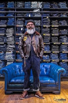 "Dave Edwards Mister ED - Custom Tailor/Designer. Picture taken by Tim Collins Photography during the ""The Stranded Sailors"" 1 Year Anniversary Event. All Jeans, Jeans Denim, Raw Denim, Mode Masculine, Denim Vintage, Vintage Fashion, Estilo Folk, Retro Mode, Mode Jeans"