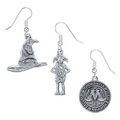 These Harry Potter earrings with fish-hook style backs come in Dobby the House Elf, the Ministry of Magic symbol, or the Sorting Hat flavors.