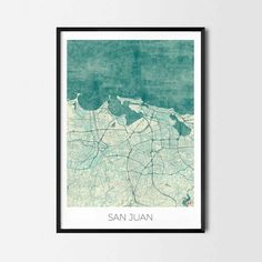San Juan art posters and prints of your favorite city. Unique design of Vancouver map. Perfect for your house and office or as a gift for friend.