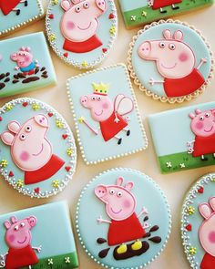 Peppa pig cookies Peppa pig cookies Peppa Pig is really a Indian preschool animated Peppa Pig Cookie, Peppa Pig Birthday Cake, Birthday Cookies, 3rd Birthday, Special Birthday, Tortas Peppa Pig, Cumple Peppa Pig, Pig Cupcakes, Pig Cookies