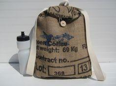 Coffee Burlap Knapsack Backpack Bag Burlap Knapsack by TanteandOom, $19.00