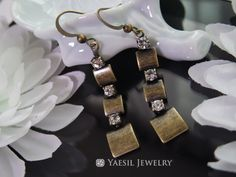 Vintage Earrings, Antiqued Brass Triple Square Drop Earrings, Square Dangle Jewelry Set, Vintage Jewelry, Birthday Gift, Mother's Day Gift by YaesilJewelry on Etsy