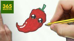 COMO DIBUJAR CHILI KAWAII PASO A PASO - Dibujos kawaii faciles - How to ... Kawaii Girl Drawings, Cute Cartoon Drawings, Cute Easy Drawings, Kristina Webb Drawings, Galaxy Phone Wallpaper, Chibi Kawaii, Arte Do Kawaii, Cute Fruit, Dibujos Cute
