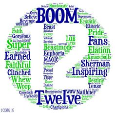 #12thMan #BOOM #GOHAWKS Seattle paper asked FB users to use 1 word to describe how they felt after we won the NFC Championship.and then they compiled this.Pretty cool.