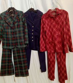 Lot of 3 FUN Vintage 1970s Ladies Pants Suits Sizes 8 through 12