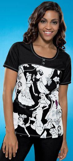 Scrubs - Cherokee Tooniforms 100% Cotton Disney Princess Collection Round Neck Scrub Top | Lydias Scrubs and Nursing Uniforms