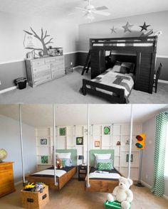 Before & After: Boys Bedroom Makeover: Green & Black Industrial Attic Bedroom Small, Attic Bathroom, Attic Spaces, Bathroom Layout, Kid Spaces, Attic Renovation, Attic Remodel, New Room, Storage Spaces
