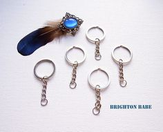5 Chrome silver keyring with chain 28mm Keychain blanks