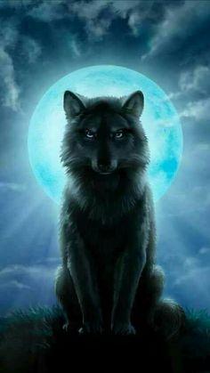 Wolf under a full moon - Wolf under a full moon - Fantasy Wesen, Fantasy Wolf, Fantasy Art, Anime Wolf, Wolf Spirit Animal, Wolf Artwork, Wolf Painting, Wolf Wallpaper, Black Wallpaper