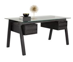 FENTON DESK | This trestle style desk from our MIXT collection features a clear tempered glass top that exposes a beautifully crafted coffee bean wood frame. Drawers add extra function and styling to this well-designed piece.