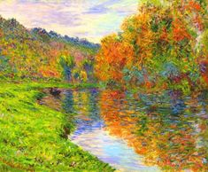 Claude Monet  | Arm of the Jeufosse, Autumn - 1884 Dimensions: Height: 60 cm (23.62 in.), Width: 73 cm (28.74 in.) Medium: Painting - oil on canvas  Location: Private collection