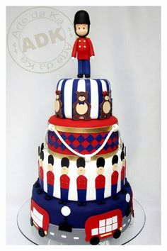 Cake, White, red and blue english royal cake  ---That's adorable!