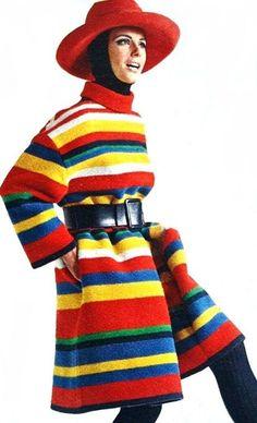 Striped rainbow coat by Nina Ricci, 1967